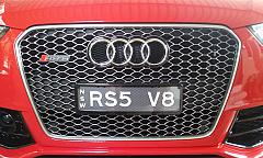 Audi RS5 NSW Tech Series plates Custom Brackets with Kingpin Covers