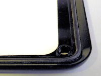 Prestige number plate cover showing neoprene seal.